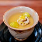 赤坂おぎ乃 - 鱈の白子の湯引き 雲子の茶碗蒸し 銀杏 下仁田葱 百合根