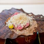 赤坂おぎ乃 - 佐賀牛のトウガラシの朴葉焼き 銀杏 胡桃 茸 むかご 熊本利平栗