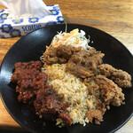 あまからす - 料理写真:「から揚げ3種チャーハン定食」比較に置いたティッシュで大きさが分かっていただけますでしょうか?