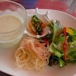 クッチーナ クラチオーネ ポッザ - 枝豆の冷たいスープ、ジャガイモのパスタ仕立てサラダ 他