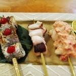 やきうお処 宵酔 - 太刀魚シソ巻き・タコ塩・海老サウザンソース