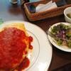 オムパレス - 料理写真:キノコの森のオムライスチーズ風味 Mサイズのセット(¥1000)。 ボリュームに対するコスパ凄くないですか?
