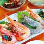 花風 - 海老刺身定食 1404円 とろける美味しさの花車海老、赤海老・天使の海老・甘海老、ホタテ刺身!