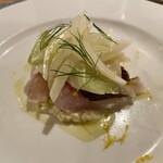 Audace - 皮目を炙ったイサキのカルパッチョ 檸檬と新玉葱のサラダ