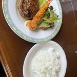 チャチャラ - ハンバーグ&海老フライ 830円、   ライス(大盛り)別 300円