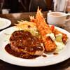 バンビ - 料理写真:海老フライ 和牛ハンバーグステーキ@税込980円