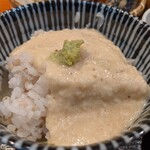 151378195 - 下仁田葱と海老天ぷら 麦とろごはん 小鉢 へぎそば