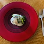 エル・バウ・デコラシオン - 貝柱と里芋のエスプーマ。チンゲン菜が柔らかくて味が濃い♡