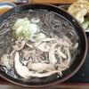 そば処 つる福 - 料理写真:冷たい肉そば とり天野菜セット 大盛(960円也) 決して冷たくはなかった…。