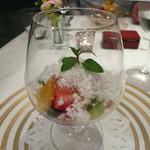 リストランテ・ホンダ - 季節のフルーツのジュレ ココナッツのグラニテとともに