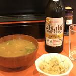 みやたや - 料理写真:ノンアルビール おとうし?甘めのあら汁とモヤシ