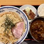 つけ麺 鐵匠 - 魚介つけ麺 唐揚げ、ライスセット 麺大盛り