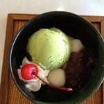 レストラン和家 - ミニ抹茶パフェ¥420円、熱いお茶付き