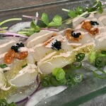 日本料理 魚夢 - 帆立貝生うにキャビアオードブル1400円