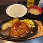 三浦のハンバーグ - ダブルチーズハンバーグランチ670円