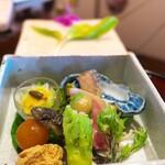 比良山荘 - 八寸→鮎のなれずし、もろこ、うどの木の芽あえ、卵黄の味噌漬け、たらの芽とこしあぶらの天ぷら、鯉の卵をたいたもの。