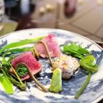比良山荘 - 鯉、鹿のたたき、うなぎ、山菜はぜんまい、いたどり、からすのえんどう。