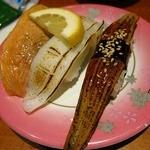 本まる寿司 - 炙り三点盛り 「サーモン いか 穴子」