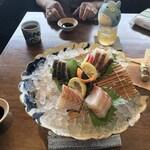 松江の台所 こ根っこや - 島根のお造り5種盛り&トトロ