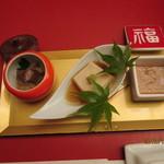 醍醐 - 2012.10.6 前菜三種盛鯛煮凝り.胡麻豆腐.烏賊の塩辛