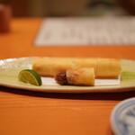 日本料理 たかむら - 春巻き:ホワイトアスパラ