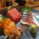 平八 - 刺身(しめ鯖、鮪、赤貝)