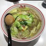 蒙古タンメン中本 - 塩タンメン(麺 大盛) + 味付玉子