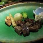 里の湯 和らく - 留肴 和牛ステーキ野菜添え
