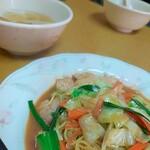 三十番 - 台湾風やわらかい焼きそば+ワンタンスープ