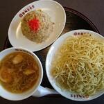 製麺屋食堂 - 料理写真:もりそば(並盛)、半ヤキメシ