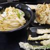 かばと製麺所 - 料理写真:しょうゆうどん(3玉)、かき揚げ、筍天、アスパラ天