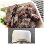 ビーフマン - *お肉の質は普通だそうですが噛むと思ったより柔らかく、かけられた「タレ」の味わいもいいそう。 680円でこれなら十分だ、と言う感想でした。