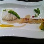 ヴェルミヨンバーグ - 旬の白身魚とカナダ産オマール海老をタプナードと魚介のエッセンスで