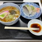 満寿形屋 - 鯖寿司うどんセット 1100円