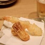 天ぷらと日本酒 明日源 - エビ、ちくわ