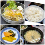 大衆割烹 ひかり - ◆サラダ ◆ご飯の質は普通ですけれど、お代わり可能。 ◆お味噌汁は「白味噌ブレンド」で、好みのテイスト。 ◆香の物