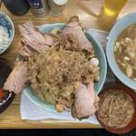 ラーメン そら - 料理写真:【2021.3.20】つけ麺豚増し1250円、うずら80円、タマネギ50円、激辛30円、魚粉30円