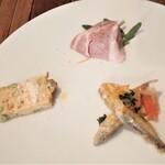 薪釜屋 ciao - 枝豆のキッシュ、松阪豚、ワカサギマリネ