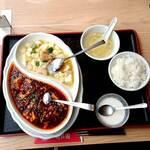 151961217 - 金麻婆豆腐と黒麻婆豆腐の食べ比べとライスセット