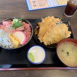 海鮮亭 高はし - 料理写真:三色丼とアジフライセットご飯大盛り1200円