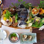 うに清 - 2021.5 活魚料理船盛り、金目鯛お造り、さざえつぼ焼、いかの塩辛