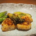 錦 - ホタテと春野菜(アスパラ&タラの芽)のバター焼き