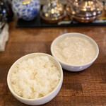 中華バルSAISAI。 - ごはん、たまご白身のメレンゲ海鮮スープ       おかわり可能です。