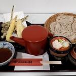 大久保西の茶屋 戸隠本店 - 春の山菜と海老の天ぷらざるそば 1650円