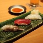 日本食 雅庭 - 季節の鮨会席「華」一の膳・鮨3貫