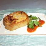 15204309 - 鶏と玉葱の長芋グラタントマトソース添え