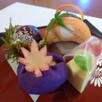 食彩夢 まほら - 凝った前菜は、まほらの人気の1皿(10月のコース)
