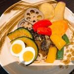 游喜庵(遊喜庵) - キーマ + 揚げ野菜 + ゆで卵