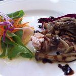 アル チェッポ - メカジキ・スモークのサラダ仕立て、鶏肉とキノコとお豆の冷製サラダwtバルサミコソース