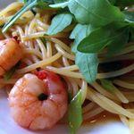 アル チェッポ - 小海老とアンチョビ、ルッコラ、オリーブのスパゲッティ